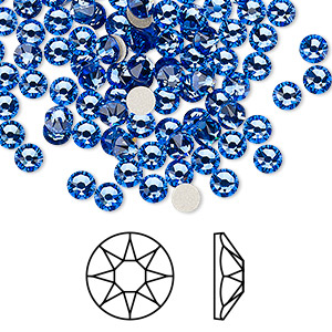 flat back, swarovski crystal rhinestone, crystal passions, sapphire, foil back, 3.8-4mm xirius rose (2088), ss16. sold per pkg of 12.