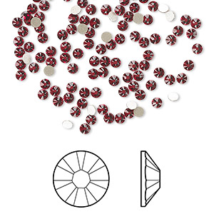 flat back, swarovski crystal rhinestone, crystal passions, siam, foil back, 2.1-2.3mm xilion rose (2058), ss7. sold per pkg of 12.