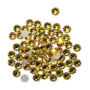 flat back, swarovski crystal rhinestone, crystal passions, sunflower, foil back, 3-3.2mm xirius rose (2088), ss12. sold per pkg of 144 (1 gross).