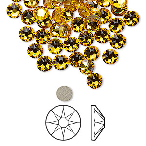 flat back, swarovski crystal rhinestone, crystal passions, sunflower, foil back, 4.6-4.8mm xirius rose (2088), ss20. sold per pkg of 144 (1 gross).
