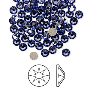 flat back, swarovski crystal rhinestone, crystal passions, tanzanite, foil back, 3.8-4mm xirius rose (2088), ss16. sold per pkg of 144 (1 gross).