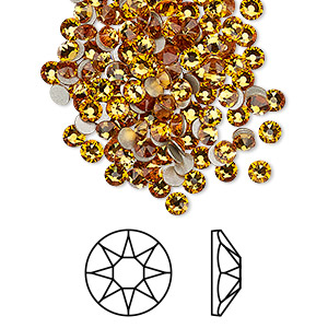 flat back, swarovski crystal rhinestone, crystal passions, topaz, foil back, 3-3.2mm xirius rose (2088), ss12. sold per pkg of 144 (1 gross).
