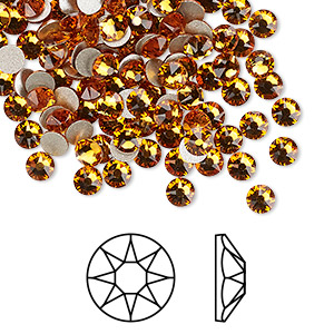 flat back, swarovski crystal rhinestone, crystal passions, topaz, foil back, 3.8-4mm xirius rose (2088), ss16. sold per pkg of 144 (1 gross).