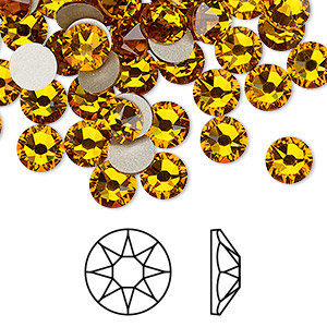 flat back, swarovski crystal rhinestone, crystal passions, topaz, foil back, 6.32-6.5mm xirius rose (2088), ss30. sold per pkg of 12.