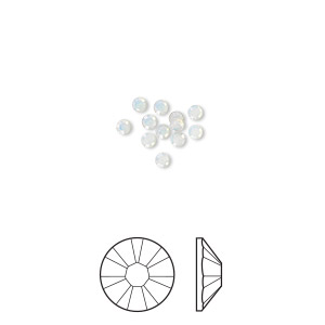 flat back, swarovski crystal rhinestone, crystal passions, white opal, foil back, 2.1-2.3mm xilion rose (2058), ss7. sold per pkg of 12.