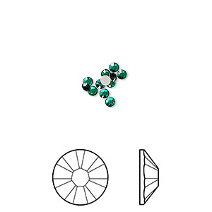 flat back, swarovski crystal rhinestone, emerald, foil back, 2.1-2.3mm xilion rose (2058), ss7. sold per pkg of 12.