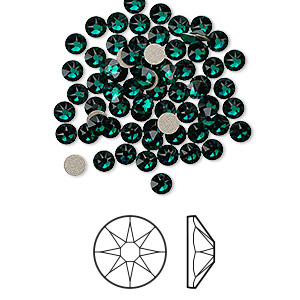 flat back, swarovski crystal rhinestone, emerald, foil back, 3-3.2mm xirius rose (2088), ss12. sold per pkg of 1,440 (10 gross).
