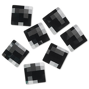 flat back, swarovski crystal rhinestone, jet, foil back, 10x10mm faceted chessboard (2493). sold per pkg of 48.