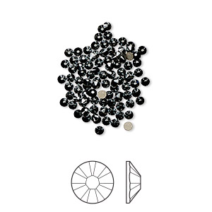 flat back, swarovski crystal rhinestone, jet hematite, foil back, 1.7-1.9mm xilion rose (2058), ss5. sold per pkg of 1,440 (10 gross).