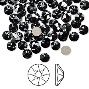 flat back, swarovski crystal rhinestone, jet hematite, foil back, 4.6-4.8mm xirius rose (2088), ss20. sold per pkg of 144 (1 gross).