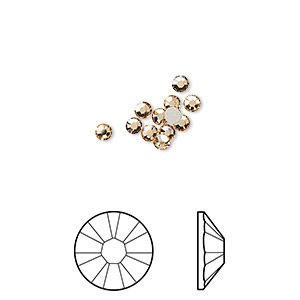 flat back, swarovski crystal rhinestone, light colorado topaz, foil back, 2.5-2.7mm xilion rose (2058), ss9. sold per pkg of 12.