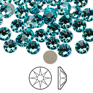 flat back, swarovski crystal rhinestone, light turquoise, foil back, 6.32-6.5mm xirius rose (2088), ss30. sold per pkg of 288 (2 gross).