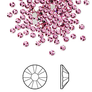 flat back, swarovski crystal rhinestone, rose, foil back, 2.5-2.7mm xilion rose (2058), ss9. sold per pkg of 144 (1 gross).