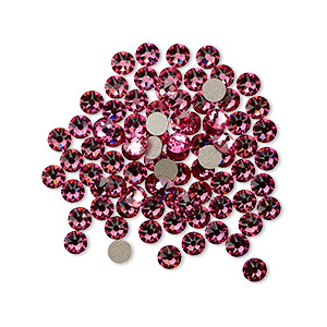 flat back, swarovski crystal rhinestone, rose, foil back, 3-3.2mm xirius rose (2088), ss12. sold per pkg of 1,440 (10 gross).