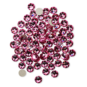 flat back, swarovski crystal rhinestone, rose, foil back, 3.8-4mm xirius rose (2088), ss16. sold per pkg of 144 (1 gross).