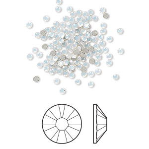 flat back, swarovski crystal rhinestone, white opal, foil back, 1.7-1.9mm xilion rose (2058), ss5. sold per pkg of 1,440 (10 gross).