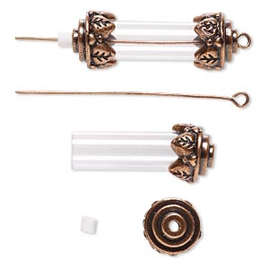 focal, acrylic and antique copper-finished brass and pewter (zinc-based alloy), clear, 34x12mm with 25x8mm round tube and removable ends, 2-inch eyepin. sold per pkg of 10.