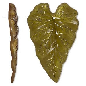 focal, acrylic, frosted olive, 50x32mm leaf. sold per pkg of 25.