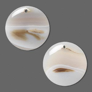 focal, agate (natural), 30mm top-drilled round, b grade, mohs hardness 6-1/2 to 7. sold per pkg of 2.