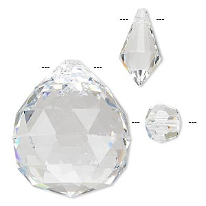 focal and bead mix, asfour crystal, crystal, crystal clear, 14x14mm-35x30mm mixed shape. sold per pkg of 3.