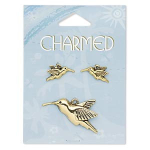 focal and charm, antique gold-finished pewter (zinc-based alloy), 42x28mm hummingbird and 20x12mm left- and right-facing hummingbird. sold per 3-piece set.