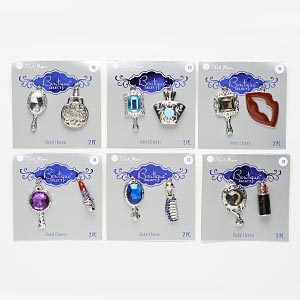focal and charm, blue moon beads, acrylic / enamel / silver-finished pewter (zinc-based alloy), multicolored, 24x17mm-40x27mm assorted vanity designs. sold per pkg of (6) 2-piece sets.