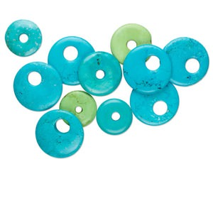 focal and component mix, magnesite (dyed / stabilized), blue and green, 25-50mm round donut and go-go, mohs hardness 3-1/2 to 4. sold per 250-gram pkg, approximately 10-15 pieces.