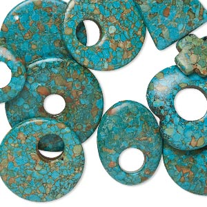 focal and drop mix, mosaic turquoise (dyed / assembled), blue-green, 21x20mm-45mm mixed shapes, c- grade, mohs hardness 3-1/2 to 4. sold per pkg of 10.