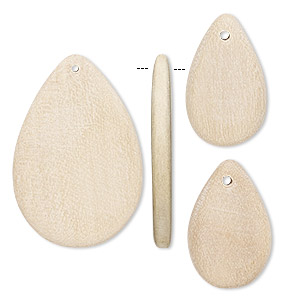 focal and drop, wood (natural), 20x12mm and 39x26mm hand-cut flat teardrop. sold per pkg of 3.