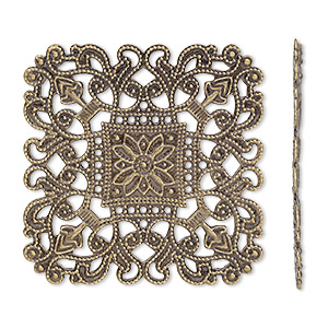 focal, antique brass-finished brass, 40x40mm filigree square. sold per pkg of 4.