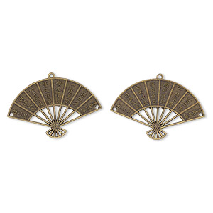 focal, antique brass-finished pewter (zinc-based alloy), 57x37mm double-sided fan with assorted chinese characters with two holes. sold per pkg of 2.