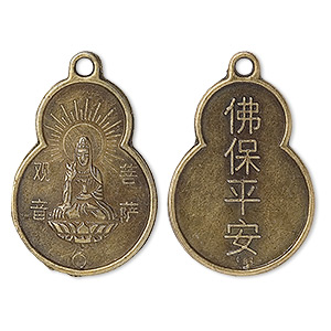 focal, antique brass-plated pewter (zinc-based alloy), 33x22mm quan-yin coin, buddha blessing: safety and peace. sold per pkg of 50.