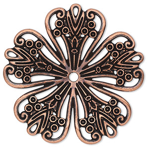 focal, antique copper-plated steel, 42x42mm single-sided concave fancy flower with 2.5mm center hole. sold per pkg of 6.