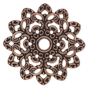 focal, antique copper-plated steel, 47x47mm single-sided fancy flower with 6mm center hole. sold per pkg of 6.