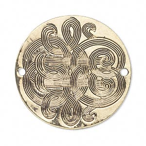 focal, antique gold-finished pewter (zinc-based alloy), 34mm single-sided round with celtic design. sold per pkg of 4.