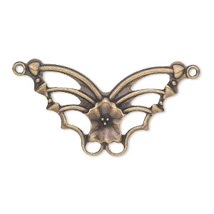 focal, antique gold-plated steel, 33x19mm single-sided fancy butterfly. sold per pkg of 24.