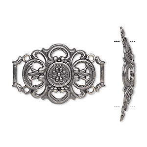 focal, antique silver-plated brass, 30x20mm fancy barrel with cutout design. sold per pkg of 6.
