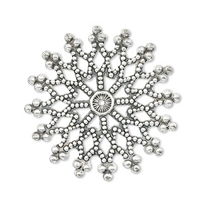focal, antique silver-plated brass, 32x32mm filigree snowflake. sold per pkg of 10.