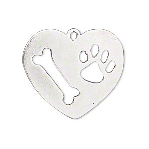 focal, antique silver-plated pewter (tin-based alloy), 30x27mm heart with dog bone and paw print cutout. sold individually.