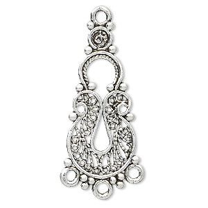 focal, antique silver-plated pewter (tin-based alloy), 34x18mm filigree, 3 loops. sold per pkg of 2.
