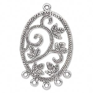 focal, antique silver-plated pewter (zinc-based alloy), 35x26mm single-sided oval with leaves and 5 loops. sold per pkg of 4.