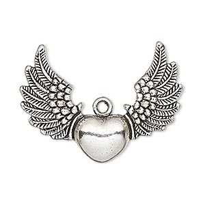 focal, antique silver-plated pewter (zinc-based alloy), 35x26mm single-sided heart with wings. sold per pkg of 4.