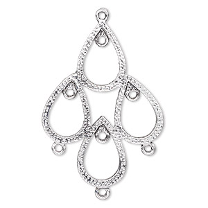 focal, antique silver-plated pewter (zinc-based alloy), 45x33mm single-sided textured open teardrop with 7 loops. sold per pkg of 4.