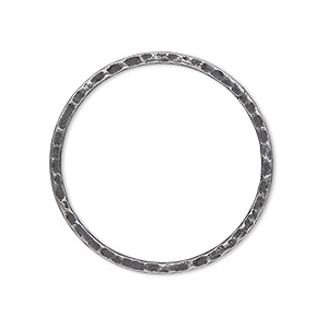 focal, antique silver-plated steel, 30mm double-sided hammered flat open round. sold per pkg of 10.