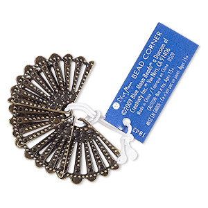 focal, antiqued brass-finished pewter (zinc-based alloy), 33x22mm beaded fan. sold per pkg of 4.