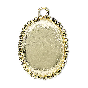 focal, antiqued gold-finished pewter (zinc-based alloy), 34x27mm oval with beaded design and 30x22mm non-calibrated oval setting. sold individually.