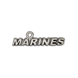 focal, antiqued pewter (tin-based alloy), 30x5mm marines. sold per pkg of 4.