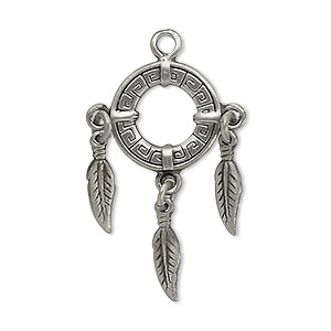 focal, antiqued pewter (tin-based alloy), 32x21mm circle with feathers. sold per pkg of 2.