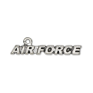 focal, antiqued pewter (tin-based alloy), 34x5mm air force. sold per pkg of 4.