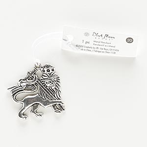 focal, antiqued silver-finished pewter (zinc-based alloy), 37x36mm lion of judah. sold individually.